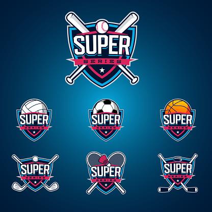 Sport logo set. Baseball, softball. volleyball, soccer. football. basketball. golf. badminton. hockey. Professional collection of emblems.