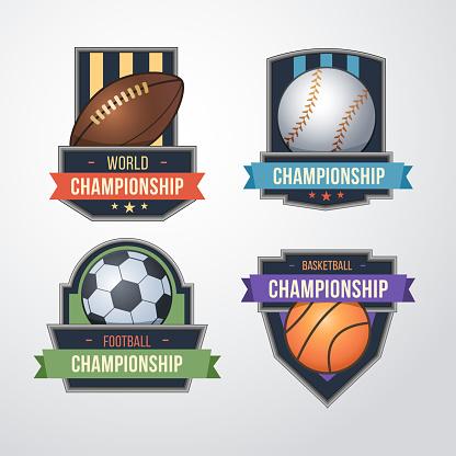 Sport logo set vector. Baseball, Soccer, Basketball Badges Logo Design Template.