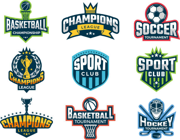 illustrazioni stock, clip art, cartoni animati e icone di tendenza di sport logos. emblem of college team cup competitions athlete recreation labels and vector badges isolated - sport