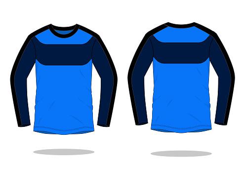 Sport Long Sleeve T-Shirt With Blue-Navy-Black Design Vector