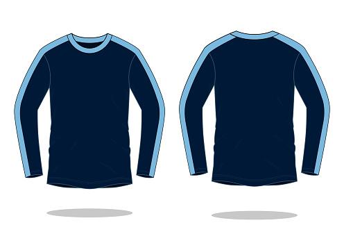 Sport Long Sleeve T-Shirt With Navy Blue-Blue Design Vector