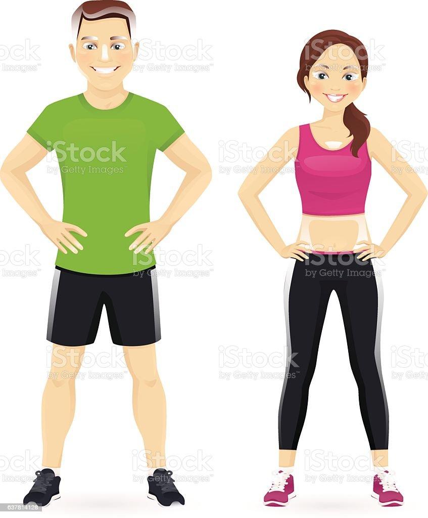 Sport man and woman vector art illustration