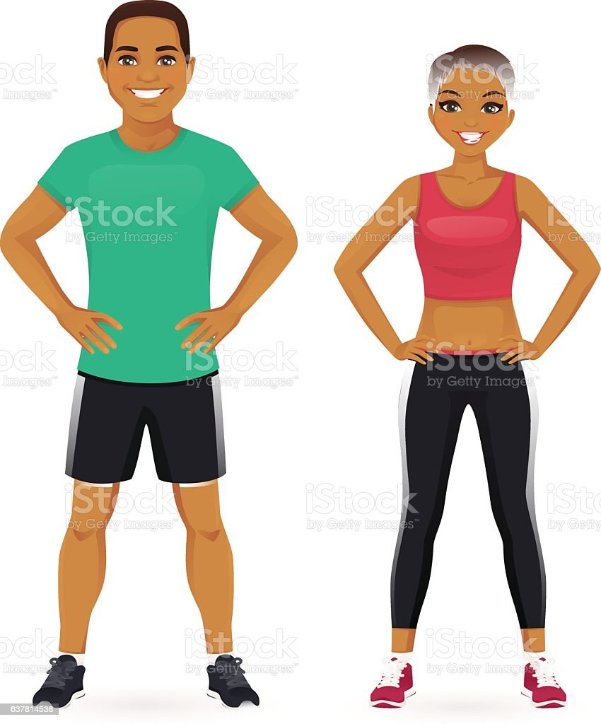 Sport man and woman vector art illustration