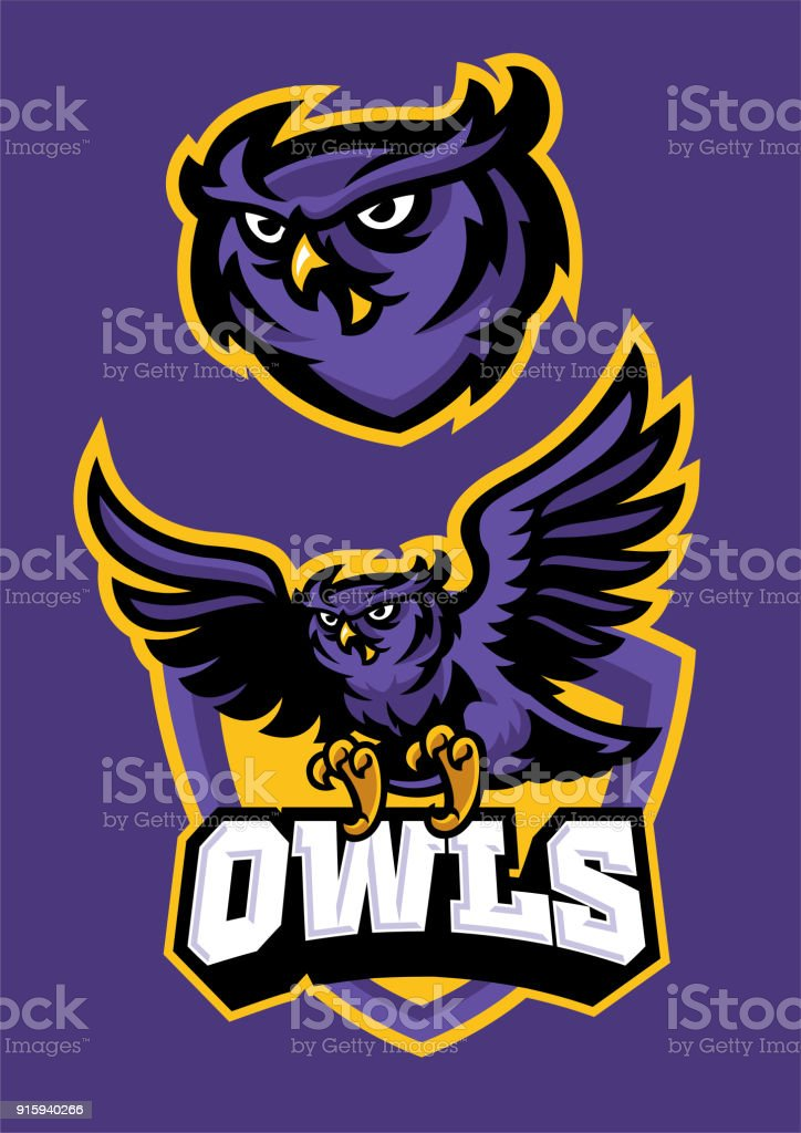 sport mascot style of owl in set vector art illustration