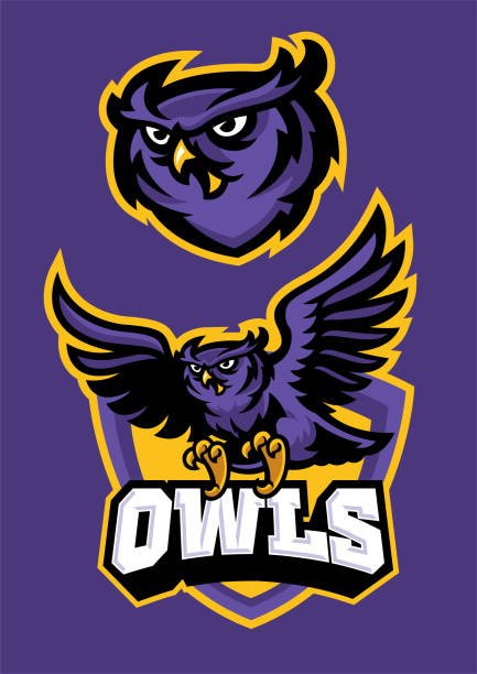 sport mascot style of owl in set vector of sport mascot style of owl in set mascot stock illustrations