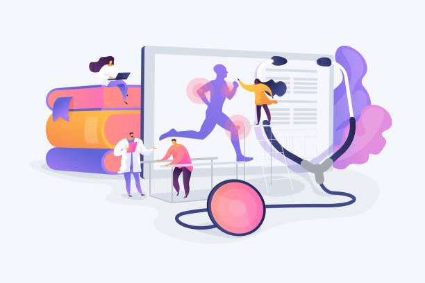 ilustraciones, imágenes clip art, dibujos animados e iconos de stock de ilustración vectorial del concepto de medicina deportiva - medicina del deporte