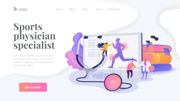 Sport medicine landing page concept Training injuries treatment, physiotherapists helping patients. Sports medicine, sports medical services, sports physician specialist concept. Website homepage header landing web page template. sports medicine stock illustrations