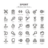 Sport - Medium Line Icons - Vector EPS 10 File, Pixel Perfect 30 Icons.