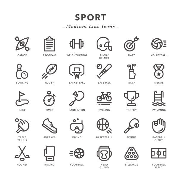 Sport - Medium Line Icons Sport - Medium Line Icons - Vector EPS 10 File, Pixel Perfect 30 Icons. golf icon stock illustrations