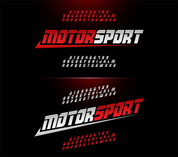 sport modern alphabet and number fonts. Motor sport racing typography italic font. vector illustrator sport modern alphabet and number fonts. Motor sport racing typography italic font. vector illustrator sports stock illustrations