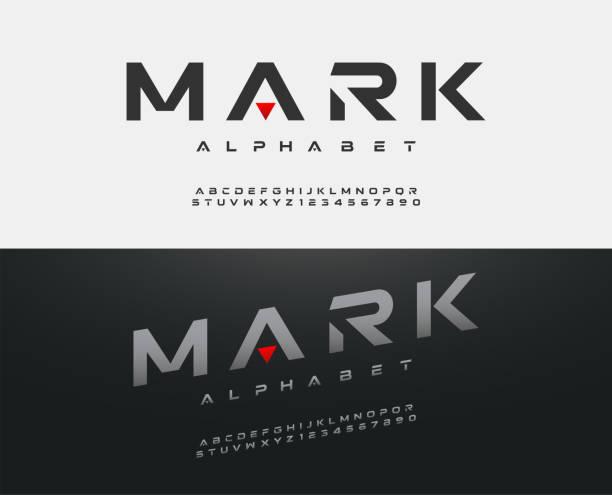 sport moderne alphabet schriftart. typografie schriften großbuchstaben regelmäßige und kursiv technologie-konzept-design. vektor-illustration - schriftsymbol stock-grafiken, -clipart, -cartoons und -symbole