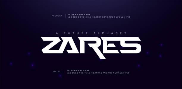 스포츠 현대 미래 알파벳 글꼴입니다. 기술, 디지털, 영화 로고 디자인 일반, 기울임꼴 및 번호에 대한 타이포그래피 도시 스타일의 글꼴. 벡터 일러스트레이션 - future stock illustrations