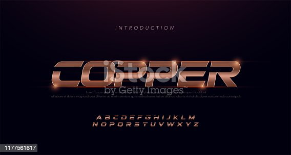 istock Sport Modern Italic Alphabet copper Font. Typography 3D stainless hairline copper fonts for technology, digital, movie, sport logo design. vector illustration 1177561617