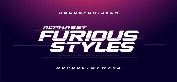 sport modern italic alphabet font. typography fast and furious style fonts for movie technology, sport, motorcycle, racing logo design. vector illustration - race stock illustrations