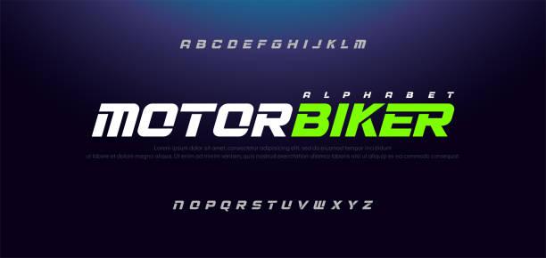 illustrations, cliparts, dessins animés et icônes de sport moderne italique alphabet police. typographie polices de style urbain pour la technologie, sport, moto, conception de logo de course. illustration vectorielle - moto sport
