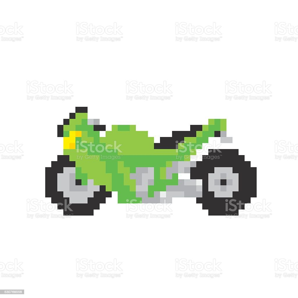 Sport Motorbike In Pixel Art Style Isolated Vector