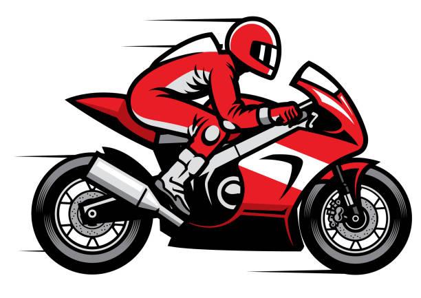 illustrations, cliparts, dessins animés et icônes de coureur de moto sport équitation rapide - moto sport