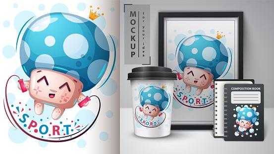 Sport mushroom - mockup for your idea
