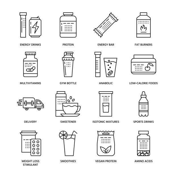 Sport nutrition flat line icons. Bodybuilding food, energy bar, protein, amino acids, anabolic, vitamins. Thin linear signs for gym fitness shop Sport nutrition flat line icons. Bodybuilding food, energy bar, protein, amino acids, anabolic, vitamins. Thin linear signs for gym fitness shop. nutritional supplement stock illustrations