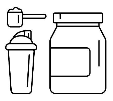 Sport nutrition supplement drink vector linear icons set. Whey protein package, scoop and shaker illustration.