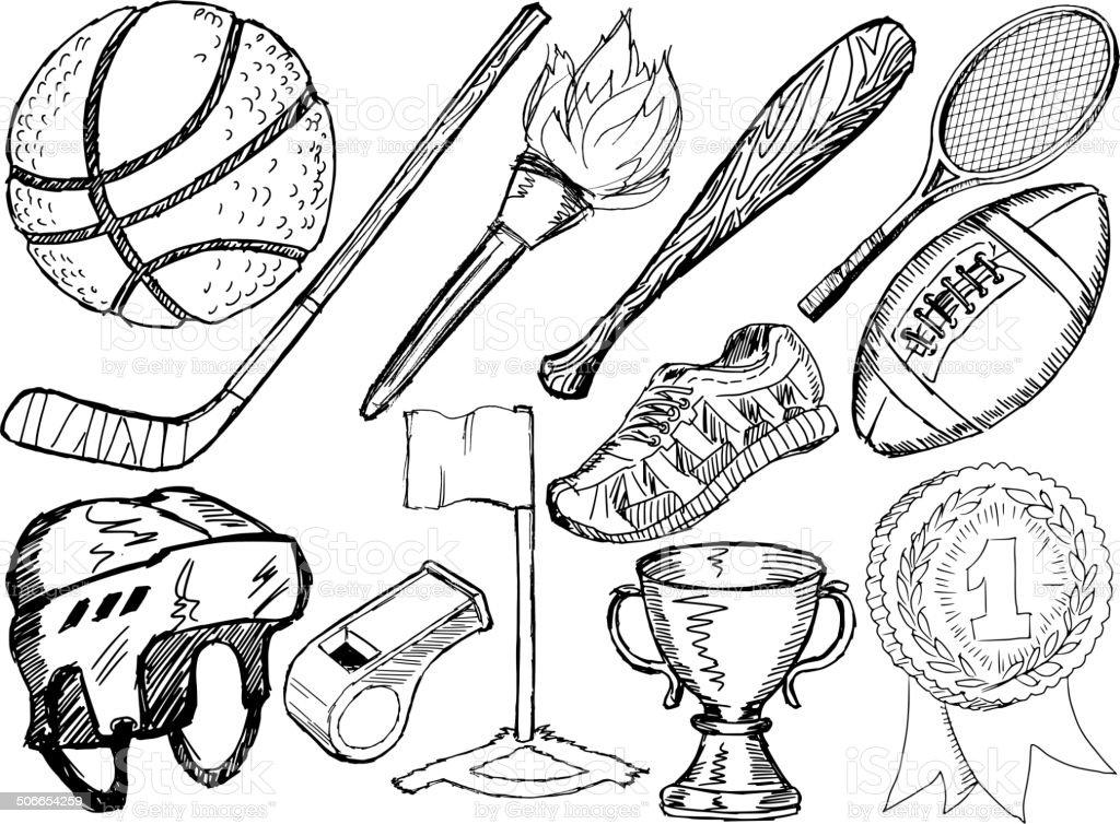 sport objects vector art illustration