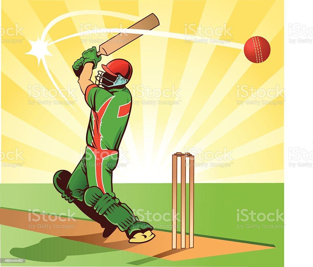 Sport of Cricket - Batsman Hits Ball for Four Runs vector art illustration