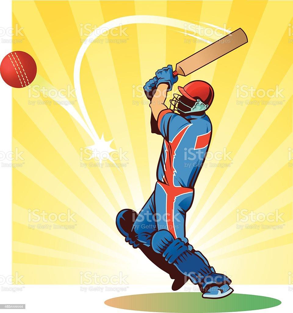 Críquet-bateador golpea el balón - ilustración de arte vectorial