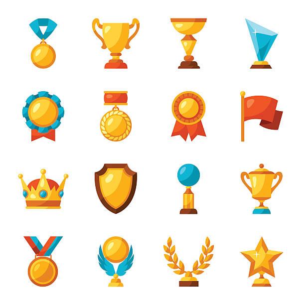 sport or business trophy award icons set - kupa ödül stock illustrations