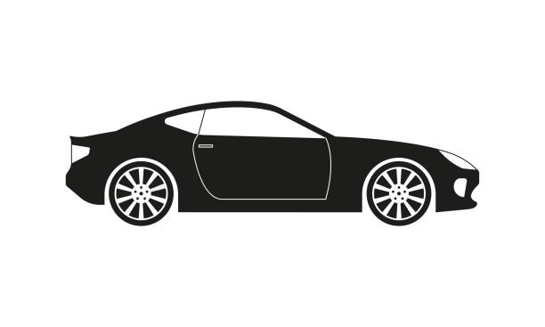 Sport or race car icon. Side view. Luxury vehicle silhouette. Vector illustration. Sport or race car icon. Side view. Luxury vehicle silhouette. Vector illustration. sports car stock illustrations