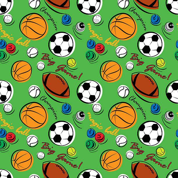 Sport Pattern on Green vector art illustration