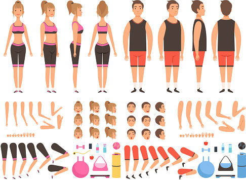 Sport people animation. Fitness male and female workout mascots body parts vector creation kit