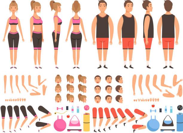bildbanksillustrationer, clip art samt tecknat material och ikoner med sport personer animation. fitness manliga och kvinnliga träning maskotar kropp delar vektor skapande kit - lem kroppsdel