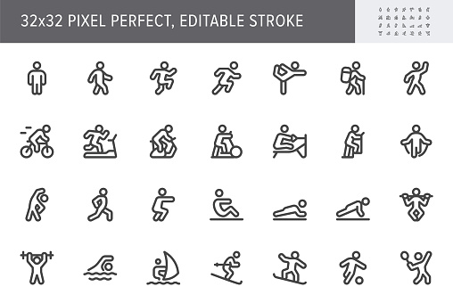 Sport people flat icons. Vector illustration with minimal icon - exercise, yoga, active man, treadmill, fitness, aerobic, snowboard, treadmill, simple pictogram. 32x32 Pixel Perfect