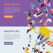 Sport People in Gym Healthy Life Concept Banner Horizontal Set Isometric View. Vector illustration