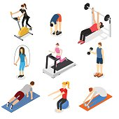 Sport People in Gym Set Isometric View. Vector