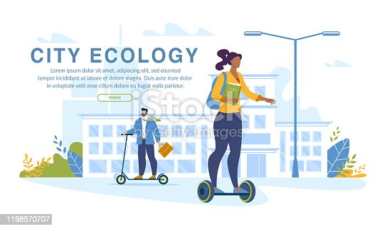City Ecology Banner. People Dwellers Prefer Sport Lifestyle and Eco Friendly Transport. No Car Day. Businessman, Student Riding Hoverboard and Electric Pushscooter. Quick Ride to Study and Work