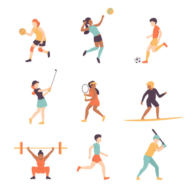 sport people set vector art illustration
