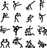 Sport Pictogram Icon Set Martial Arts