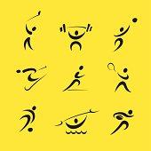 9 sport pictograms designed in vector format