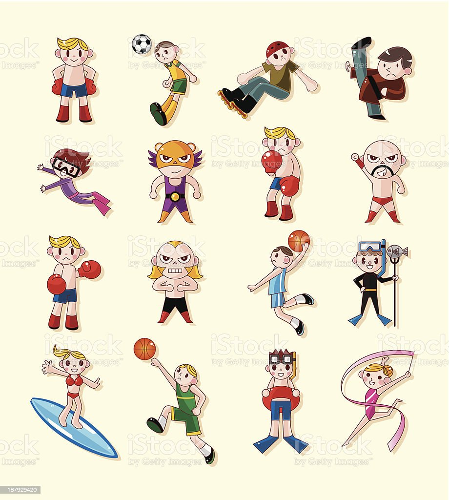 sport player icons set royalty-free stock vector art