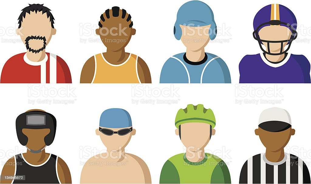 Sport Players Icons vector art illustration