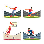 Sport players vector illustrations set