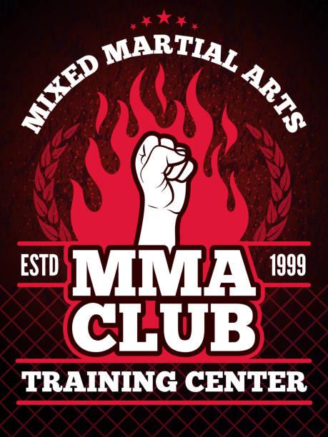 stockillustraties, clipart, cartoons en iconen met poster van de sport van mma mengen strijd concept illustraties - mma