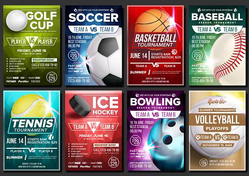Vetores de Esporte Poster Vetor Definido Ténis Basquetebol Futebol Golfe Beisebol Hóquei No Gelo Boliche Anúncio De Evento Modelo De Banners Publicitários Liga Torneio Ilustração De Convite Esporte Vertical e mais imagens de Amarelo