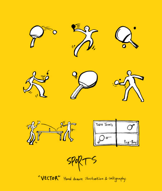 Sport poster Sketchy leisure illustration - vector ping pong table stock illustrations