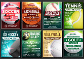 Sport Poster Set Vector. Tennis, Basketball, Soccer, Golf, Baseball, Ice Hockey, Bowling. Event Announcement. Banner Template Advertising League Tournament Vertical Sport Invitation Illustration