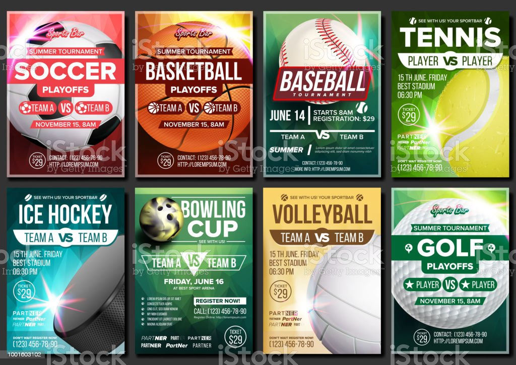 Sport Poster Vector. Soccer, Tennis, Golf, Basketball, Bowling, Baseball, Ice Hockey. Event Design Template. Sport Bar Promo, Bowling Ball. Tournament A4 Championship Flyer Announcement Illustration - illustrazione arte vettoriale