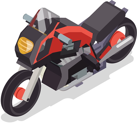 Sport race motorbike vehicle isometric flat bike design vector illustration
