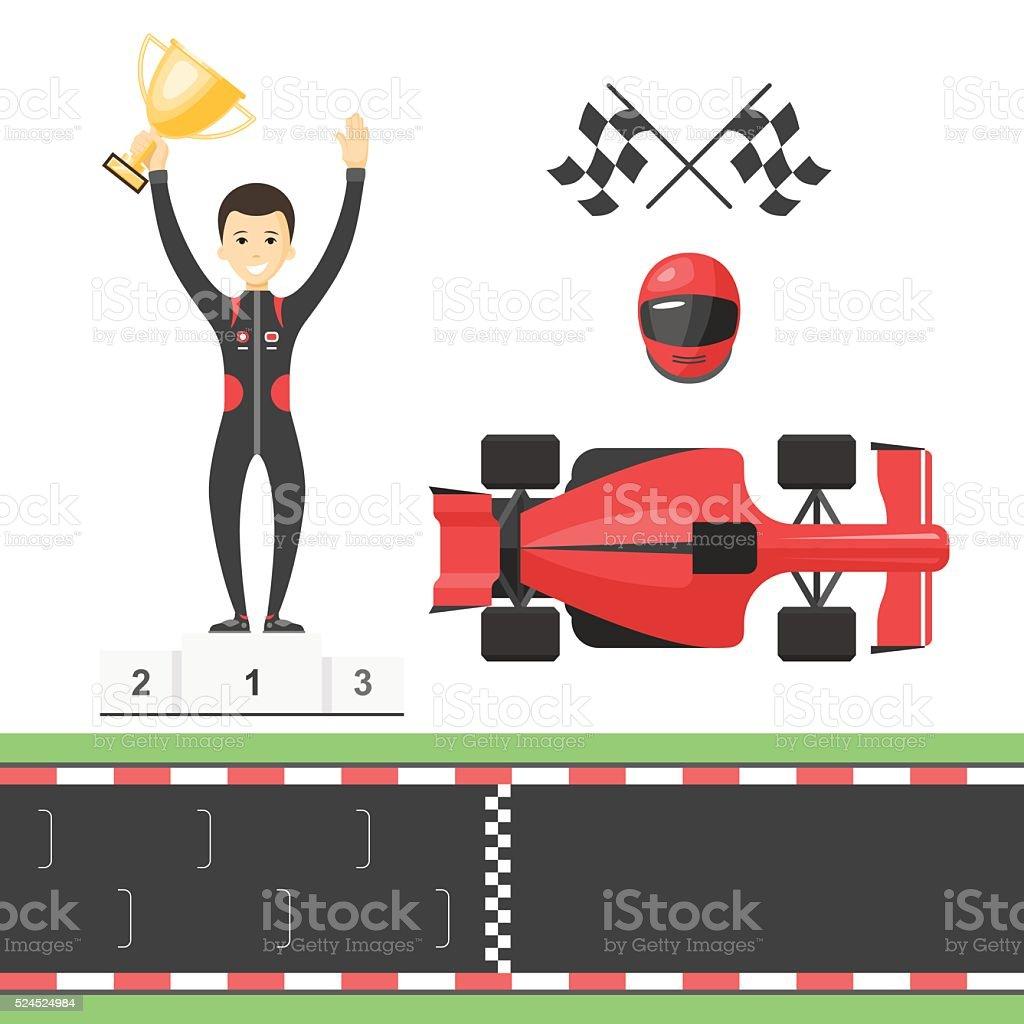 sport race set track flags winner man racing car stock vector art