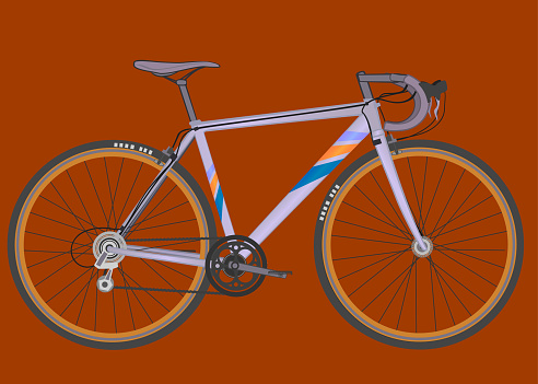 Sport racing road bike in silver color